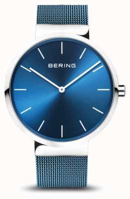 Bering Мужская | классический | синий стальной браслет с покрытием из ПВХ 16540-308