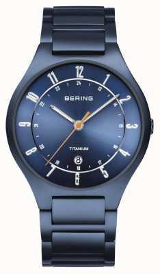 Bering Мужская | титан | синий циферблат | синий браслет 11739-797