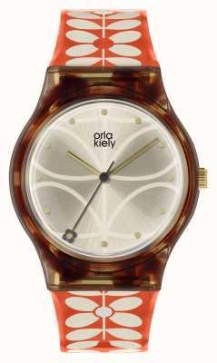 Orla Kiely | женские бобби часы | черный корпус | Ремешок с принтом стволовых 60-х годов | OK2316