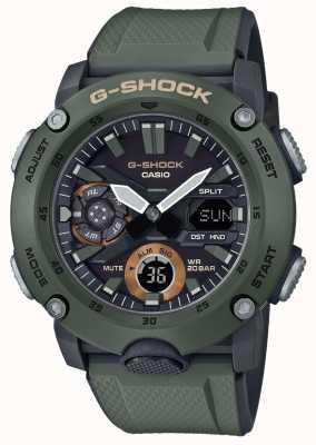 Casio | Углеродный сердечник G-Shock | зеленый резиновый ремешок | GA-2000-3AER