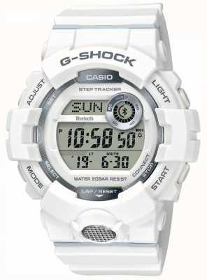Casio | г-шок | спортивные часы, степ трекер | белый резиновый ремешок GBD-800-7ER