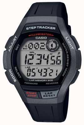 Casio | спортивные часы, степ трекер | черный резиновый ремешок | WS-2000H-1AVEF