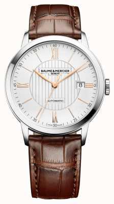 Baume & Mercier | мужские классы | автоматический | коричневая кожа | серебряный циферблат | BM0A10263