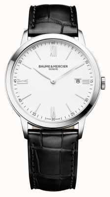 Baume & Mercier | мужская классика | черный кожаный ремешок | белый циферблат | M0A10323