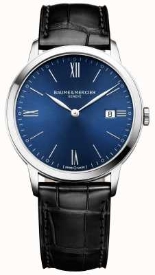 Baume & Mercier | мужские классы | черный кожаный ремешок | синий циферблат | M0A10324
