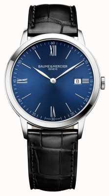 Baume & Mercier | мужские классы | черный кожаный ремешок | синий циферблат | BM0A10324