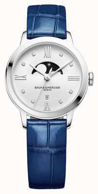 Baume & Mercier | женские классы | синяя кожа | серебряный циферблат с лунной фазой | BM0A10329