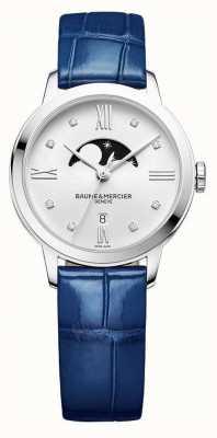 Baume & Mercier | женские классы | синяя кожа | серебряный лунный фазе циферблат | M0A10329
