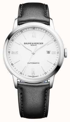 Baume & Mercier | мужская классика | автоматический | черная кожа | белый циферблат | M0A10332