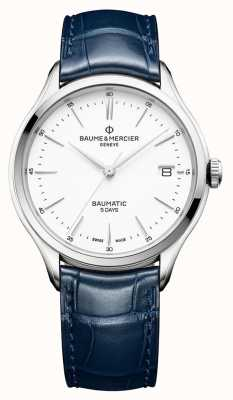 Baume & Mercier | мужской клифтон | бауматик | синяя кожа | белый циферблат | M0A10398