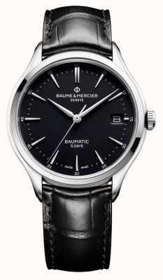 Baume & Mercier | мужской клифтон | Бауматик | черная кожа | черный циферблат | BM0A10399