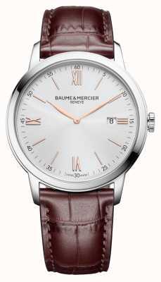 Baume & Mercier | мужская классика | светло-коричневая кожа | серебряный циферблат | M0A10415