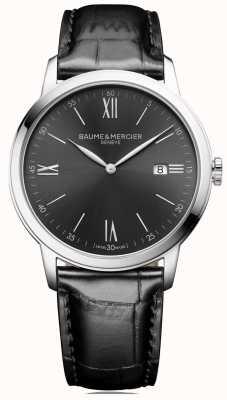 Baume & Mercier | мужские классы | черная кожа | циферблат серо-серый | BM0A10416