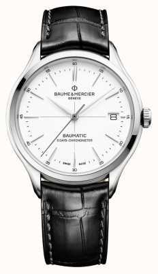 Baume & Mercier | мужской клифтон | Бауматик | черная кожа | белый циферблат | BM0A10436