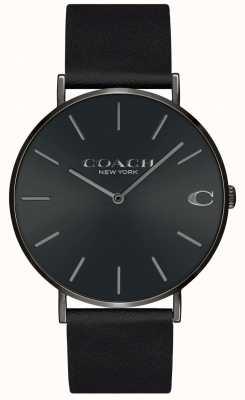 Coach | мужские | Чарльз | черный кожаный ремешок | черный циферблат | 14602434