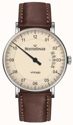 MeisterSinger | мужская винтаго | автоматический | коричневая кожа | кремовый циферблат | | VT903