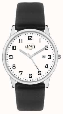 Limit | мужской черный кожаный ремешок | серебристо-белый циферблат | 5741.01