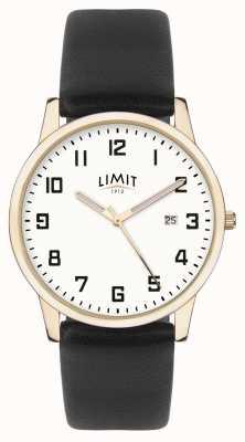 Limit | мужская черная кожа | серебряный циферблат | золотой кейс | 5742.01