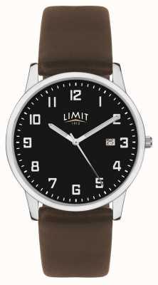 Limit | мужской темно-коричневый кожаный ремешок | черный циферблат | 5744.01