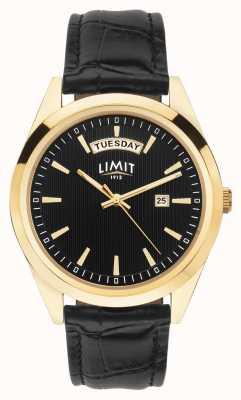 Limit | мужской черный кожаный ремешок | черный циферблат | золотой кейс | 5750.01