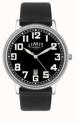 Limit | мужской черный кожаный ремешок | черный циферблат | 5747.01