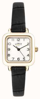 Limit | женский черный кожаный ремешок | серебряный циферблат | золотой кейс | 60059.01