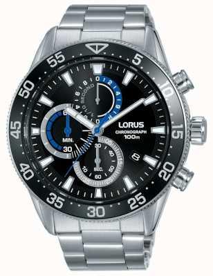 Lorus | мужской хронограф | черный циферблат | браслет из нержавеющей стали | RM335FX9