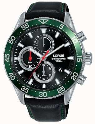 Lorus   мужской хронограф   зеленый ободок   черный кожаный ремешок   RM347FX9