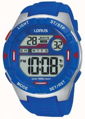 Lorus | мужские спортивные цифровые | синий резиновый ремешок | R2301NX9