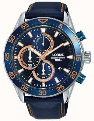 Lorus   мужской хронограф   синий ободок   синяя кожа   синий циферблат   RM341FX9