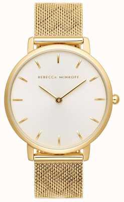 Rebecca Minkoff Женская майор | браслет из позолоченной сетки | серебристо-белый циферблат 2200298