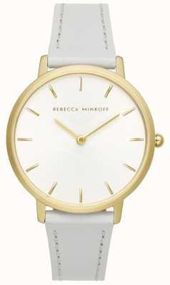 Rebecca Minkoff Женская майор | серый кожаный ремешок | серебристо-белый циферблат | 2200289