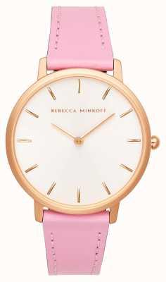 Rebecca Minkoff Женская майор | розовый кожаный ремешок | серебристо-белый циферблат | 2200290