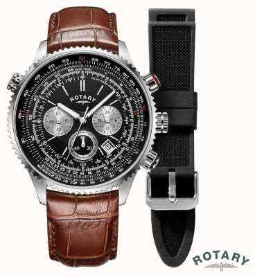 Rotary Мужские пилоты | хронограф | черный циферблат | коричневый кожаный ремешок GS00100/04/KIT