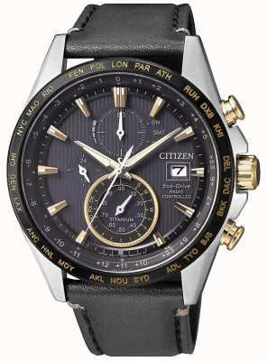 Citizen | мужской эко-драйв мировой хронограф на | черный кожаный ремешок AT8158-14H
