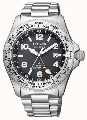Citizen | мужской эко-драйв promaster gmt | черный циферблат | нержавеющая сталь BJ7100-82E