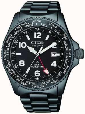 Citizen | мужской эко-драйв promaster gmt | черный циферблат | черный браслет | BJ7107-83E