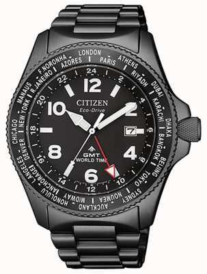 Citizen | мужской эко-драйв promaster gmt | черный циферблат | серый пвд BJ7107-83E