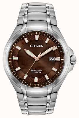 Citizen | мужской эко-драйв | титановый браслет | коричневый циферблат | BM7431-51X