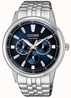 Citizen | мужской эко-драйв | браслет из нержавеющей стали | синий циферблат | BU2071-87L