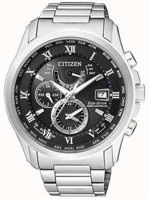 Citizen | мужское эко-драйв мирового времени на | нержавеющая сталь | blackdial AT9081-89E