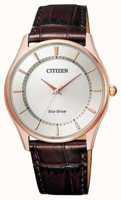 Citizen | мужской эко-драйв | коричневый кожаный ремешок | серебряный циферблат | BJ6483-01A