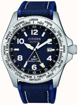 Citizen | мужской эко-драйв promaster gmt | синий циферблат | синий ремешок | BJ7100-15L