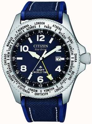 Citizen Мужские часы eco-drive promaster gmt с синим циферблатом и синим холщовым ремешком BJ7100-15L