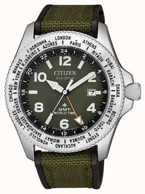 Citizen Мужские часы eco-drive promaster gmt с зеленым ремешком и зеленым циферблатом BJ7100-23X