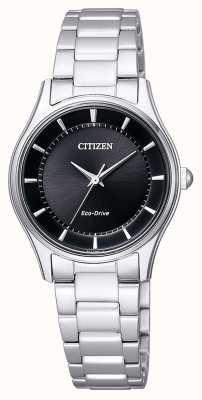 Citizen | женский эко-драйв | браслет из нержавеющей стали | черный циферблат | EM0401-59E