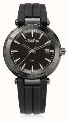 Michel Herbelin | мужской ньюпорт | черный резиновый ремешок | черный циферблат | 12288/G33CA