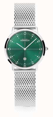 Michel Herbelin | женский город | браслет из серебряной сетки | зеленый циферблат | 16915/16B