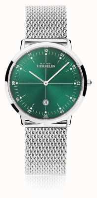 Michel Herbelin | мужской / женский город | браслет из серебряной сетки | зеленый циферблат | 19515/16B