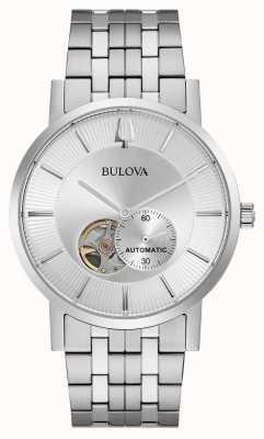 Bulova Мужская автоматическая | браслет из нержавеющей стали | серебряный циферблат 96A238